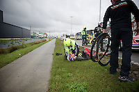 Marco Haller (AUT/Katusha) crashed heavily and had to abandon the race<br /> <br /> 70th Dwars Door Vlaanderen 2015