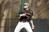 Charlotte 49ers relief pitcher Brett Bond (42) in action against the Canisius Golden Griffins at Hayes Stadium on February 23, 2014 in Charlotte, North Carolina.  The Golden Griffins defeated the 49ers 10-1.  (Brian Westerholt/Four Seam Images)