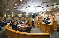 NWA Democrat-Gazette/BEN GOFF @NWABENGOFF<br /> Fifth grade students from Frank Tillery Elementary in Rogers hold a mock trial Wednesday, March 7, 2018, at Rogers District Court. The students put on costumes and portrayed historical figures from the American Revolution, putting Benedict Arnold on trial for treason and Capt. Thomas Preston on trial for murder in the Boston Massacre.