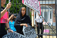 August 12, 2011 (Washington, DC)  Madea Benjamin and members of the group Code Pink protested in front of the Syrian Embassy in Washington on August 12, 2011.  The group was protesting what they consider Syria's human rights violations against its own people.  (Photo: Media Images International)
