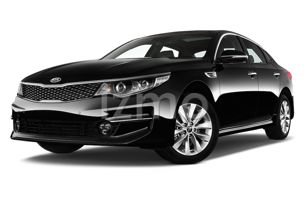 Stock pictures of low aggressive front three quarter view of 2016 KIA Optima Sense 4 Door Sedan Low Aggressive