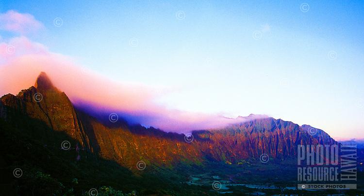 Koolau mountain range from the Pali Lookout, Oahu