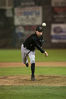 Great Falls Voyagers relief pitcher Michael McCormick (35) delivers a pitch during a Pioneer League against the Ogden Raptors at Lindquist Field on August 23, 2018 in Ogden, Utah. The Ogden Raptors defeated the Great Falls Voyagers by a score of 8-7. (Zachary Lucy/Four Seam Images)