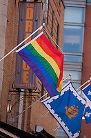 The Rainbow flag (also known as Pride flag or Gay flag) and the Quebec city flag are seen on Le Drague cabaret club in Quebec city May 4, 2009. Bar le Drague is the flagship of the gay community district of Quebec city (Quartier gai de Quebec, Gay Quarter of Quebec)