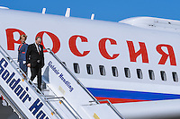 Pictured: Vladimir Putin walks down the steps of his aircraft upon his arrival to Athens Friday 27 May 2016<br /> Re: Russian President Vladimir Putin arrives at Eleftherios Venizelos Airport near Athens, Greece