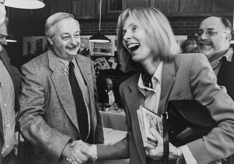 Rep. Lois Capps, D-Calif., greeting party members, on March 16, 1998. (Photo by Shana Raab/CQ Roll Call via Getty Images)