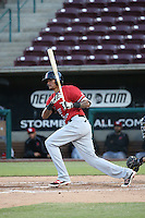 Jairo Beras (16) of the High Desert Mavericks bats against the Lake Elsinore Storm at The Diamond on April 27, 2016 in Lake Elsinore, California. High Desert defeated Lake Elsinore, 10-2. (Larry Goren/Four Seam Images)