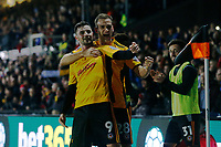 Padraig Amond of Newport County celebrates scoring his sides first goal of the match with team mate Mickey Demetriou during the Fly Emirates FA Cup Fourth Round match between Newport County and Tottenham Hotspur at Rodney Parade, Newport, Wales, UK. Saturday 27 January 2018
