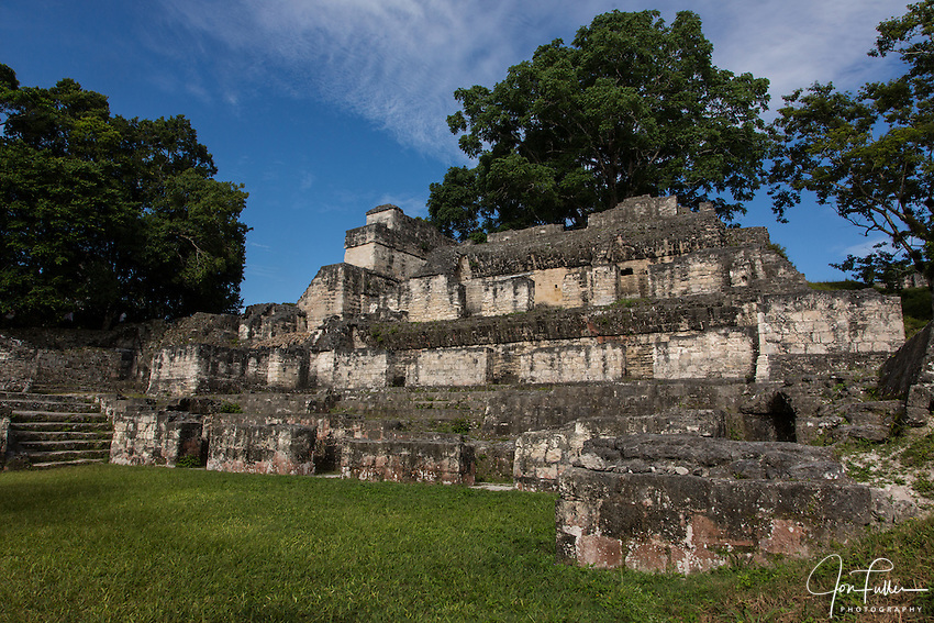 Mayan civilization archeological site of Tikal Nationa Park, Guatemalal, a UNESCO World Heritage site.  Ruins of a palace in the Central Acropolis.