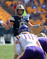 Pitt quarterback Kenny Pickett. The Pitt Panthers football team defeated the Albany Great Danes 33-7 on September 01, 2018 at Heinz Field, Pittsburgh, Pennsylvania.