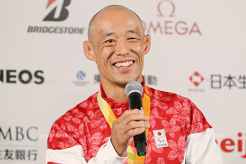 Makoto Hirose (JPN),<br /> SEPTEMBER 9, 2016 : <br /> Medalist Satoshi Fujimoto, Makoto Hirose and Takuya Tsugawa of Japan during the Press Conference for the Rio 2016 Paralympic Games at the Japan House in Rio de Janeiro, Brazil.<br /> (Photo by Shingo Ito/AFLO)