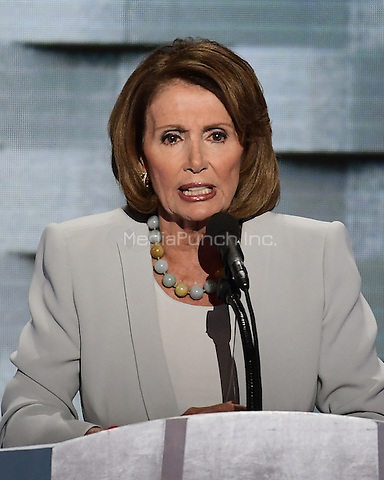 United States House Democratic Leader Nancy Pelosi (Democrat of California) makes remarks during the fourth session of the 2016 Democratic National Convention at the Wells Fargo Center in Philadelphia, Pennsylvania on Thursday, July 28, 2016.<br /> Credit: Ron Sachs / CNP/MediaPunch<br /> (RESTRICTION: NO New York or New Jersey Newspapers or newspapers within a 75 mile radius of New York City)