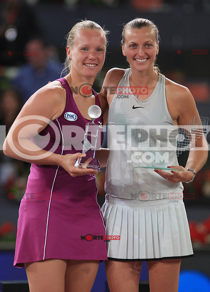Petra Kvitova, Czech Republic, (r) celebrates the victory in the Madrid Open Tennis 2018 Final match in presence of the finalist Kiki Bertens, Netherlands. May 12, 2018.(ALTERPHOTOS/Alberto Simon)