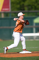 Texas Longhorns second baseman Jordan Etier #7 turns a double play against the Arizona State Sun Devls in NCAA Tournament Super Regional baseball on June 10, 2011 at Disch Falk Field in Austin, Texas. (Photo by Andrew Woolley / Four Seam Images)