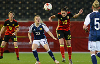 20170411 - LEUVEN ,  BELGIUM : Belgian Elien Van Wynendaele (23)  pictured with Scottish Fiona Brown (22) during the friendly female soccer game between the Belgian Red Flames and Scotland , a friendly game in the preparation for the European Championship in The Netherlands 2017  , Tuesday 11 th April 2017 at Stadion Den Dreef  in Leuven , Belgium. PHOTO SPORTPIX.BE | DAVID CATRY