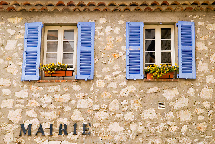 Building detail of small tourist shop in the mountain village of Gourdon, France