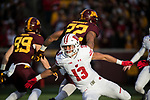 Wisconsin Badgers defensive back Evan Bondoc (13) during an NCAA College Big Ten Conference football game against the Minnesota Golden Gophers Saturday, November 25, 2017, in Minneapolis, Minnesota. (Photo by David Stluka)