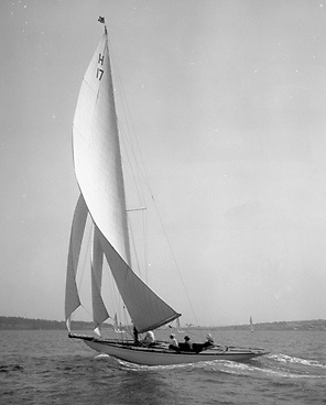 Arthur Sharman Crawford sailing his new International 8 Metre Ierne