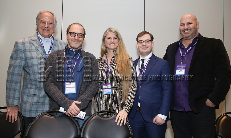 Stewart F. Lane, , Lonny Price, Bonnie Comley, Hal Berman and Gio Messale attends the BroadwayHD panel discussion at Broadwaycom 2018 on January 26, 2018 at Jacob Javitz Center in New York City.