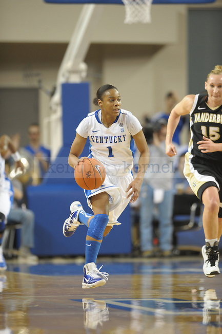UK's A'dia Mathies brings up the ball during the University of Kentucky Women's basketball game against Vanderbilt at Memorial Coliseum in Lexington, Ky., on 1/23/11. Uk led the game at half 37-22. Photo by Mike Weaver | Staff
