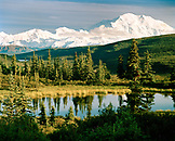 USA, Alaska, view of the Mount McKinley and the Denali Range with Nugget Lake, Denali National Park, Camp Denali