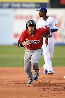 Birmingham Barons shortstop Jaime Pedroza (3) during a game against the Chattanooga Lookouts on April 24, 2014 at AT&T Field in Chattanooga, Tennessee.  Chattanooga defeated Birmingham 5-4.  (Mike Janes/Four Seam Images)