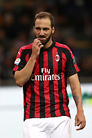 Calcio, Serie A: Inter Milano - AC Milan , Giuseppe Meazza stadium, .October 21, 2018.<br /> Milan's Gonzalo Higuain reacts during the Italian Serie A football match between Inter and Milan at Giuseppe Meazza (San Siro) stadium, October 21, 2018.<br /> UPDATE IMAGES PRESS/Isabella Bonotto