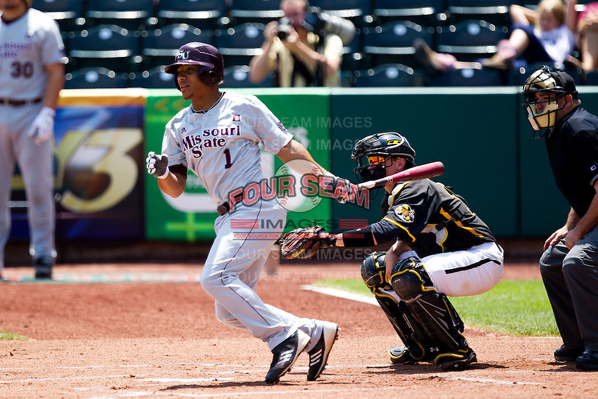 Keenen Maddox (1) of the Missouri State Bears follows through his swing during a game against the Wichita State Shockers in the 2012 Missouri Valley Conference Championship Tournament at Hammons Field on May 23, 2012 in Springfield, Missouri. (David Welker/Four Seam Images)