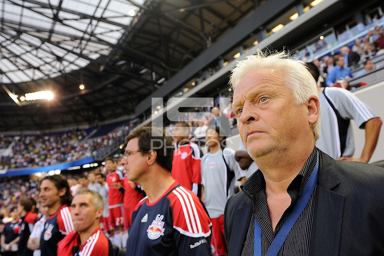 New York Red Bulls head coach Hans Backe along the sidelines prior to the start of a friendly between Santos FC and the New York Red Bulls at Red Bull Arena in Harrison, NJ, on March 20, 2010. The Red Bulls defeated Santos FC 3-1.