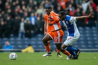 Blackpool's Viv Solomon-Otabor competing with Blackburn Rovers' Ryan Nyambe<br /> <br /> Photographer Andrew Kearns/CameraSport<br /> <br /> The EFL Sky Bet League One - Blackburn Rovers v Blackpool - Saturday 10th March 2018 - Ewood Park - Blackburn<br /> <br /> World &copy; 2018 CameraSport. All rights reserved. 43 Linden Ave. Countesthorpe. Leicester. England. LE8 5PG - Tel: +44 (0) 116 277 4147 - admin@camerasport.com - www.camerasport.com