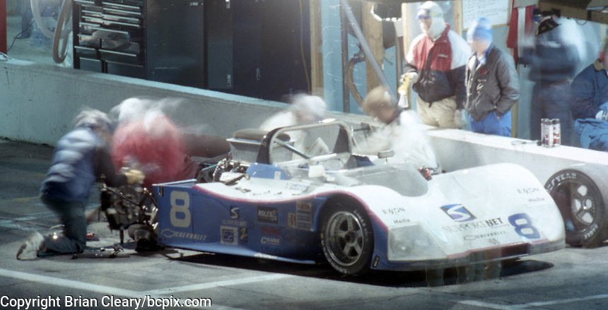 The #8 Chevrolet Hawk C-8 of Henry Camferdam, Roger Mandeville, Bill Auberlen, and Tony Kester makes a pit stop en route  to a 30 th place finish in the 24 Hours of Daytona, IMSA race, Daytona International Speedway, Daytona Beach , FL, February 4, 1996.  (Photo by Brian Cleary/www.bcpix.com)