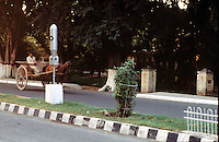 Pakistan  Peshawar  1986..On the road signal road fact with a bomb......