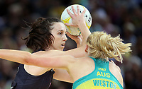 14.10.2017 Silver Ferns Bailey Mes in action during the Constellation Cup netball match between the Silver Ferns and Australia at QudosBank Arena in Sydney. Mandatory Photo Credit ©Michael Bradley.