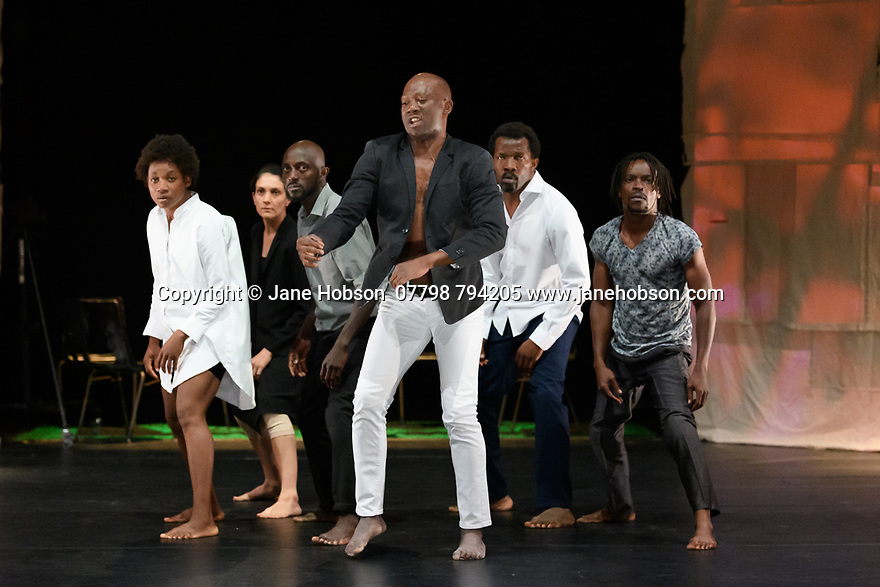 """Faso Danse Theatre/ Serge Aime Coulibaly presents """"Kalakuta Republik"""", choreographed by Aerge Aime Coulibaly, at the Royal Lyceum Theatre, as part of the Edinburgh International Festival.  The dancers are: Marion Alzieu, Serge Aime Coulabily, Adonis Nebie, Sayouba Segue, Ahmend Soura, Ida Faho. Picture shows: Ida Faho, Marion Alzieu, Ahmend Soura, Serge Aime Coulibaly, Sayouba Segue, Adonis Nebie"""