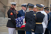 A Military Honor Guard carries casket of late Senator John McCain, Republican of Arizona, prior to a funeral for the late Senator at the National Cathedral in Washington, DC on September 1, 2018. Credit: Alex Edelman / CNP