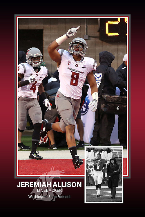 Memorabilia print for Jeremiah Allison from the 2015 Washington State football season in which the Cougs went 9-4, including a Sun Bowl victory over the Miami Hurricanes.