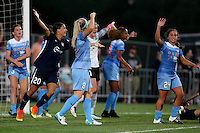 Piscataway, NJ - Saturday Aug. 27, 2016: Samantha Kerr, Julie Johnston, Danielle Colaprico during a regular season National Women's Soccer League (NWSL) match between Sky Blue FC and the Chicago Red Stars at Yurcak Field.