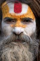 Sadhu close up at Shambhu Nath Hindu traditional Cremation Area