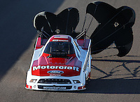 Feb. 22, 2013; Chandler, AZ, USA; NHRA funny car driver Bob Tasca III during qualifying for the Arizona Nationals at Firebird International Raceway. Mandatory Credit: Mark J. Rebilas-