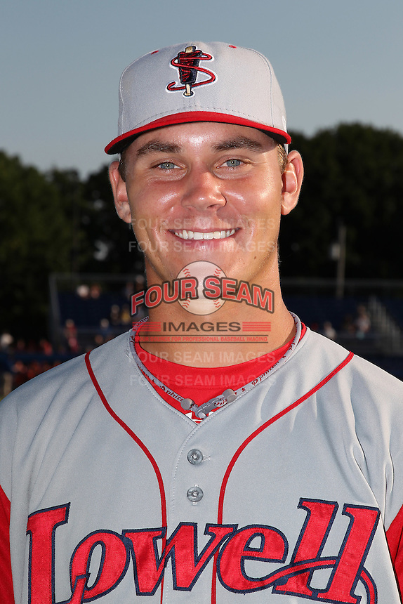 Lowell Spinners Pitcher Madison Younginer poses for a photo before a game vs. the Batavia Muckdogs at Dwyer Stadium in Batavia, New York July 16, 2010.   Batavia defeated Lowell 5-4 with a walk off RBI single.  Photo By Mike Janes/Four Seam Images