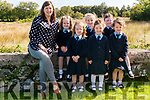 First day of school for junior infants front l-r Freya O'Keeffe, Clodagh Moynihan and Clodagh O'Sullivan back l-r Melissa O'Leary, Vuillin Dineen and Carla Collins at the Hollymount NS Rathmore last Monday pictured with class teacher and principal Caroline Ruiseal.