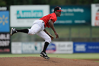 Pitcher Robinson Leyer (20) of the Kannapolis Intimidators delivers a pitch in a game against the Charleston RiverDogs on Saturday, June 28, 2014, at CMC-Northeast Stadium in Kannapolis, North Carolina. Kannapolis won, 4-3. (Tom Priddy/Four Seam Images)