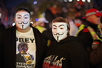 Million Mask March. Anonymous protesters in Trafalgar Square, London.  5th November 2017 05/11/2017.<br /> Vendetta mask.<br /> CAP/SDL<br /> &copy;Stephen Loftus/Capital Pictures
