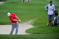 Jon Rahm (ESP) hits from the trap on 3 during round 4 of the Shell Houston Open, Golf Club of Houston, Houston, Texas, USA. 4/2/2017.<br /> Picture: Golffile | Ken Murray<br /> <br /> <br /> All photo usage must carry mandatory copyright credit (&copy; Golffile | Ken Murray)