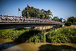 Members of the Australian Maccabi delegation to the 20th Maccabiah games take part in a memorial ceremony over the Yarkon river in Tel Aviv Tuesday July 4 2017. The athletes marked 20 years since four members of the the delegation died in a tragic  catastrophic failure of a pedestrian bridge over the Yarkon River during the opening ceremony of the 15th Maccabiah Games . Photo by Eyal Warshavsky