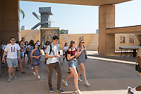 Incoming Occidental College students participate in Oxy Engage with the group LA Icons and tour the Cathedral of Our Lady of the Angels near downtown Los Angeles, on Aug. 24, 2016.<br /> Oxy Engage is a pre-orientation program that introduces incoming students to the vibrant city of Los Angeles. Upperclassmen facilitators lead trips to experience culture, film, food, nature, social justice, the urban environment, and much more.<br /> (Photo by Marc Campos, Occidental College Photographer)