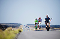 2 time Ironman Hawaii winner Chris 'Macca' McCormack &amp; Bart Aernouts out training together on the Queen K.<br />
