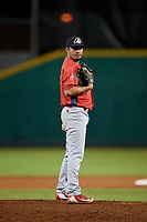 Peoria Chiefs relief pitcher Fabian Blanco (21) looks in for the sign during a game against the Bowling Green Hot Rods on September 15, 2018 at Bowling Green Ballpark in Bowling Green, Kentucky.  Bowling Green defeated Peoria 6-1.  (Mike Janes/Four Seam Images)
