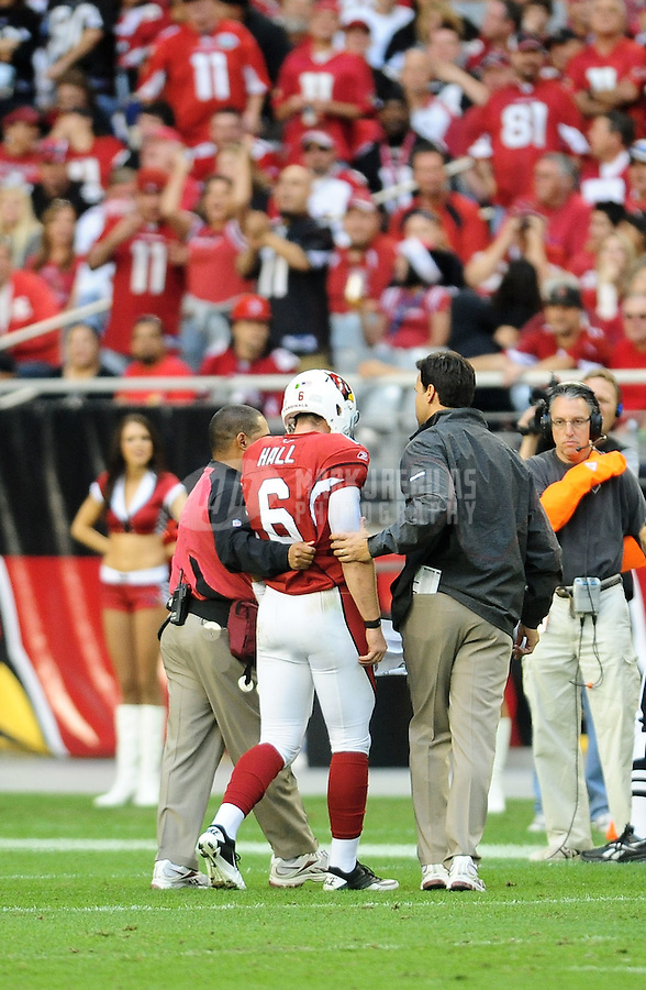 Dec. 5, 2010; Glendale, AZ, USA;  Arizona Cardinals quarterback (6) Max Hall is helped off the field after suffering an injury in the fourth quarter against the St. Louis Rams at University of Phoenix Stadium. Hall would not return to the game. The Rams defeated the Cardinals 19-6. Mandatory Credit: Mark J. Rebilas-
