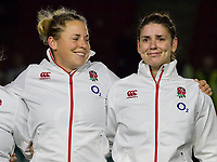 Amber Reed smiles at Sarah Hunter as she is trying not to cry during the anthem after having ran out alone to mark her 100th Cap, England Women v Canada in an Autumn International match at The Stoop, Twickenham, London, England, on 21st November 2017 Final score 49-12